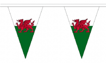 Wales Triangular Flag Bunting - 20m Long - 54 Flags